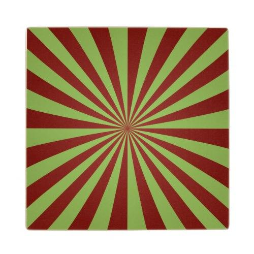 Red green rays Wood Coaster